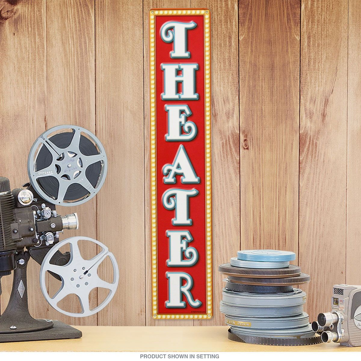 Theater Ticket Booth Marquee Vertical Metal Sign_D