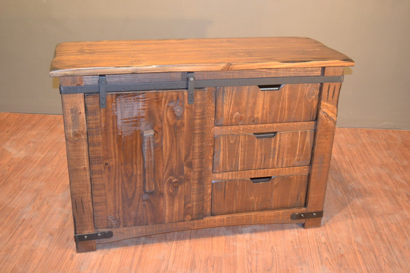 Rustic Solid Reclaimed Wood TV Stand Media Center With Sliding Door And  Drawers By RusticShop1 On