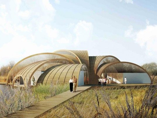 Atelier CMJN, Great Fen Visiting Center, Cambridgeshire, rainwater collection, eolic turbine, fen, organic architecture, adaptation, Architecture, Green Materials, Daylighting, green Interiors, energy efficiency,