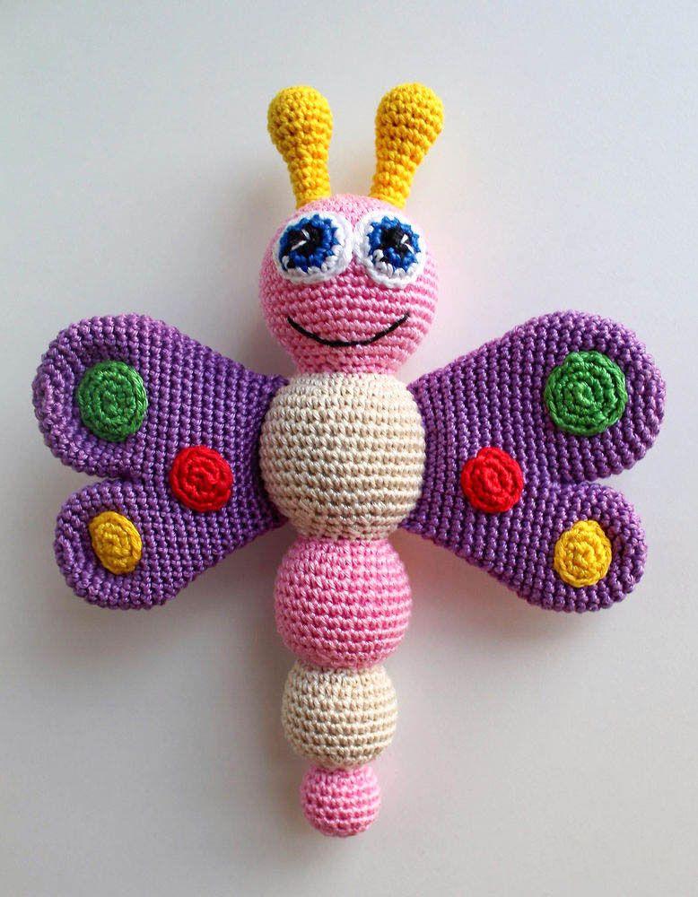 Sonajero de bebé de mariposa de ganchillo - patrón libre | bricolage ...