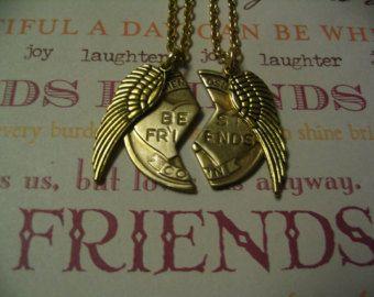 Best Friends Necklace Set Angel Wings Jewelry Gift BFF Sister Friends