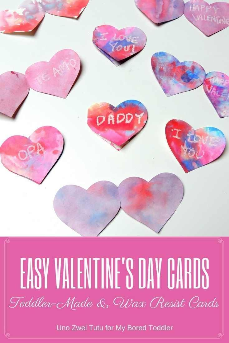 Toddler Wax Resist Heart Valentines Day Card – Toddler Valentines Day Cards