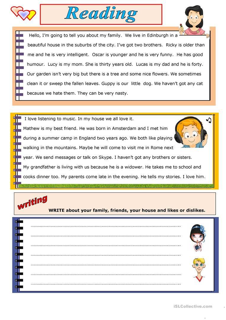 READING AND WRITING Worksheet Free ESL Printable