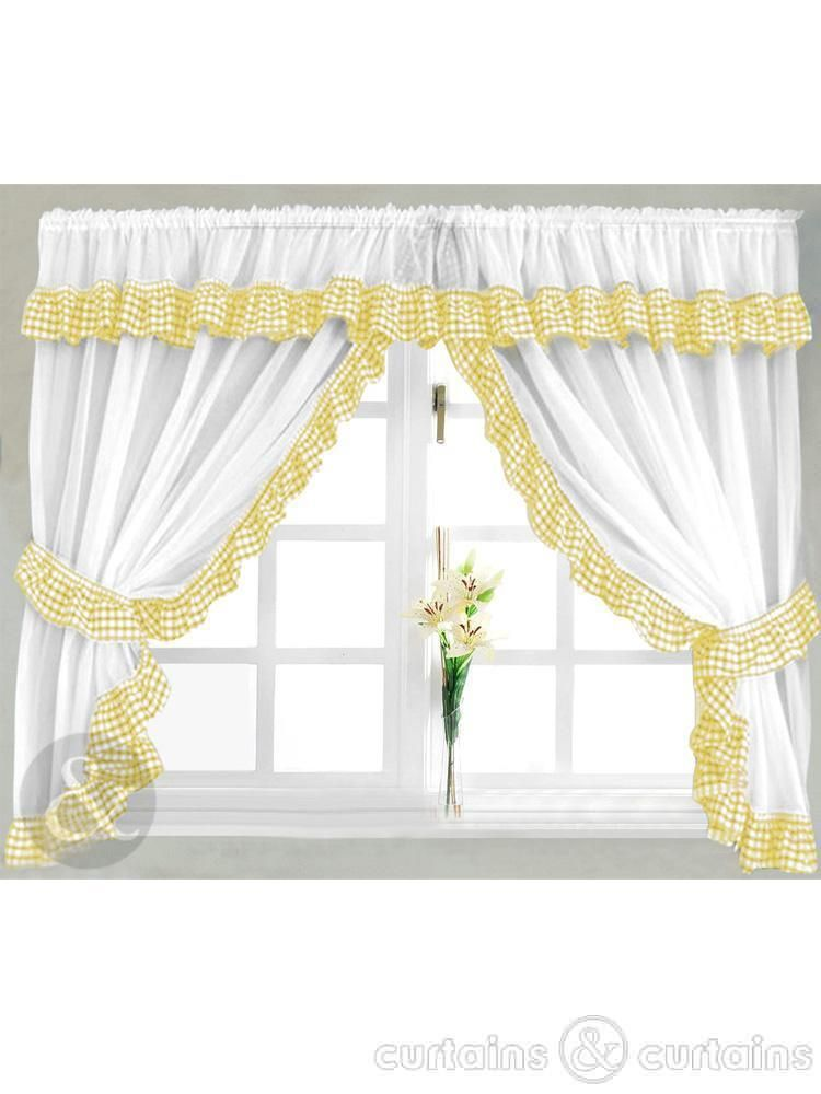 Black And Yellow Kitchen Curtains | Gingham Check Yellow U0026 White Kitchen  Curtain   Curtains UK