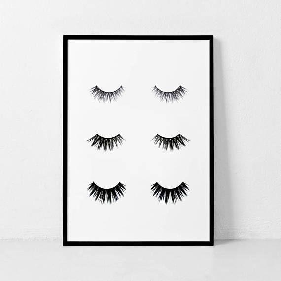 eyelashes prints makeup print bedroom art fashion print nesprints