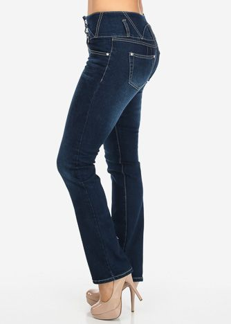 Skinny jeans with wide waistband