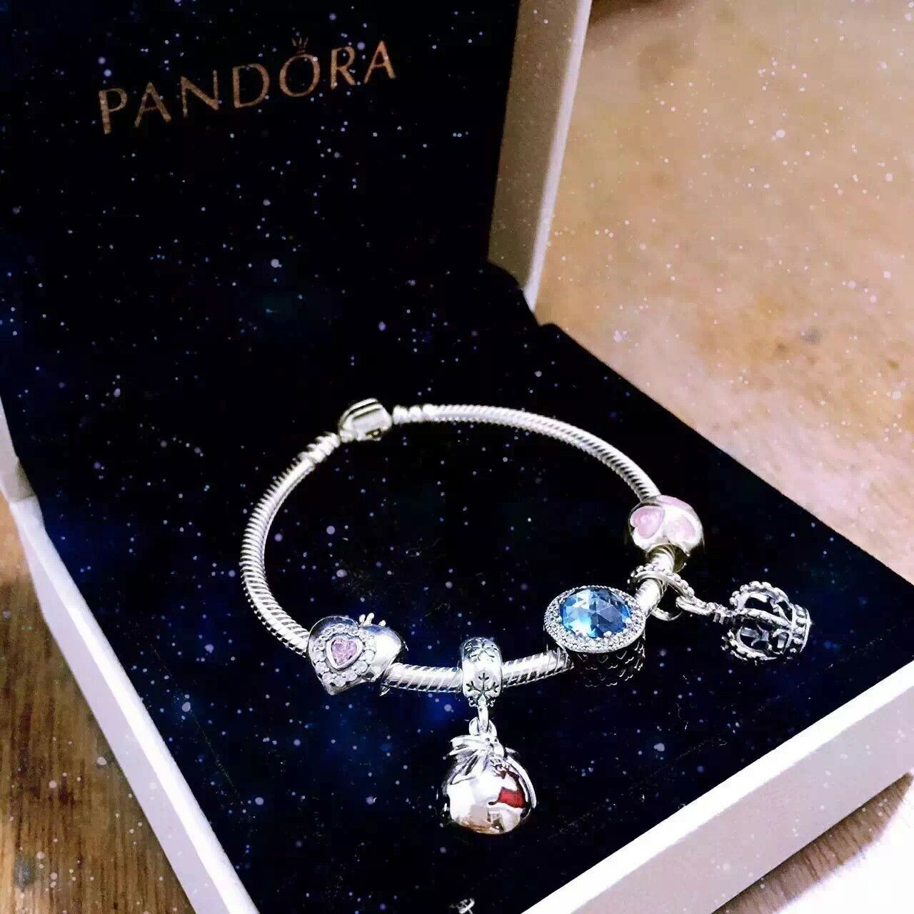 50% OFF!!! $159 Pandora Charm Bracelet Pink Blue Red. Hot Sale!!! SKU: CB01991 - PANDORA Bracelet Ideas