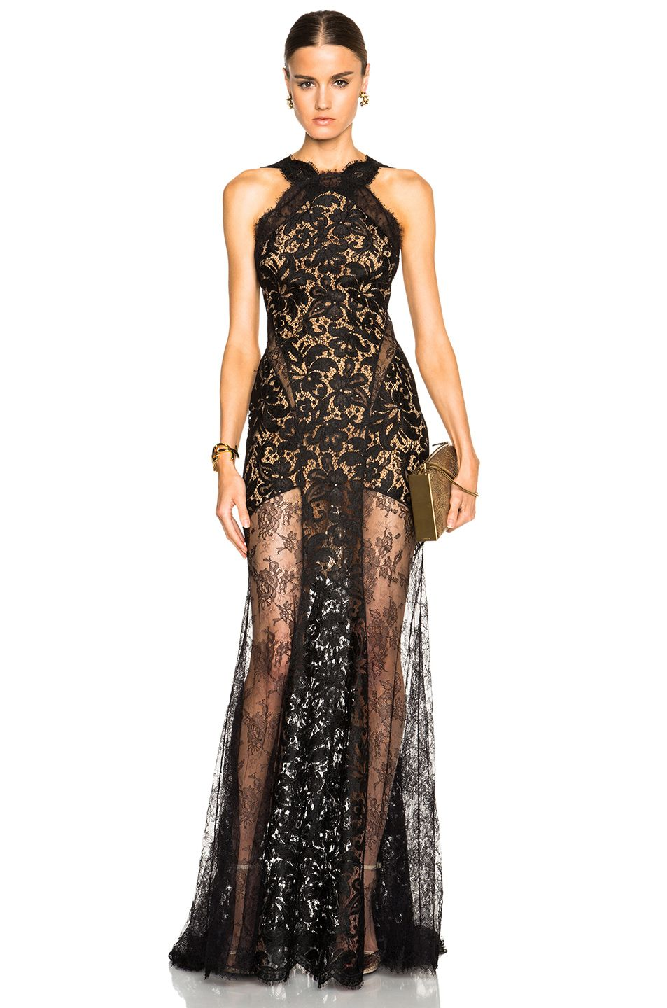 Image of emilio pucci long lace dress with sheer paneling in black
