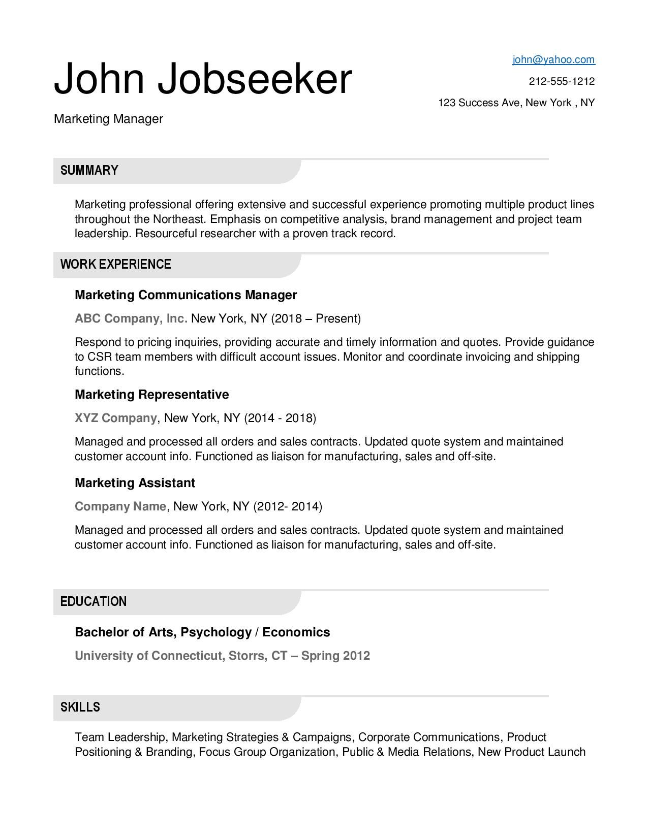 Need A New Job Resume Downloads One page resume, One