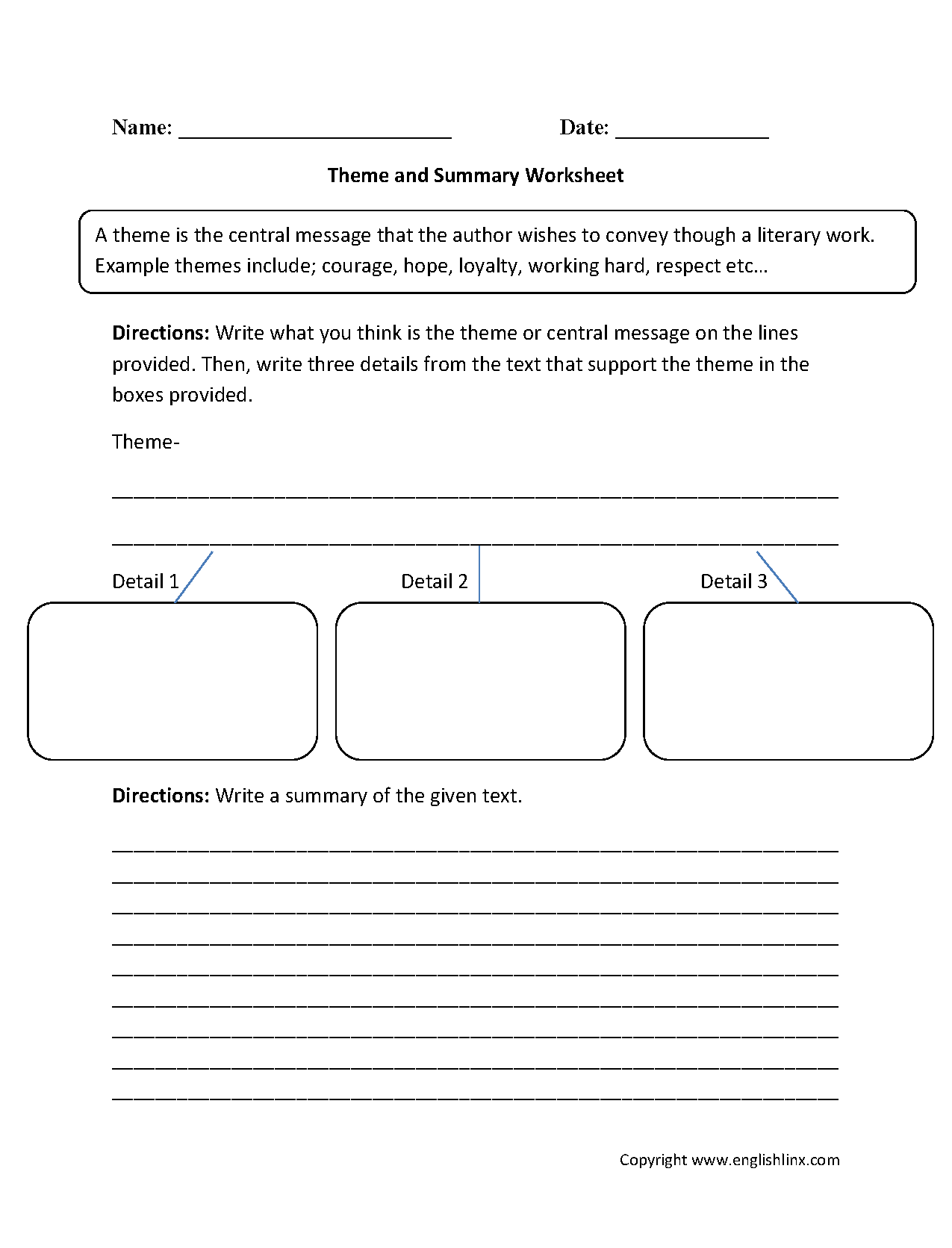 Theme And Summary Worksheets Englishlinx Com Board