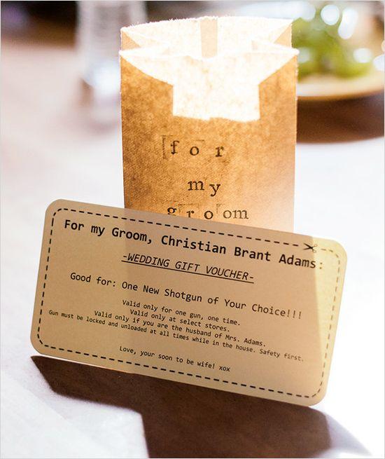 funny homemade groom gift certificate #groomgift #weddingideas #weddingchicks http://www.weddingchicks.com/2014/03/17/shabby-chic-winery-wedding/
