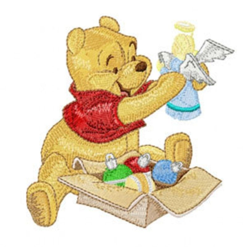 Photo of Christmas Pooh with Angel Machine Embroidery Design in 4