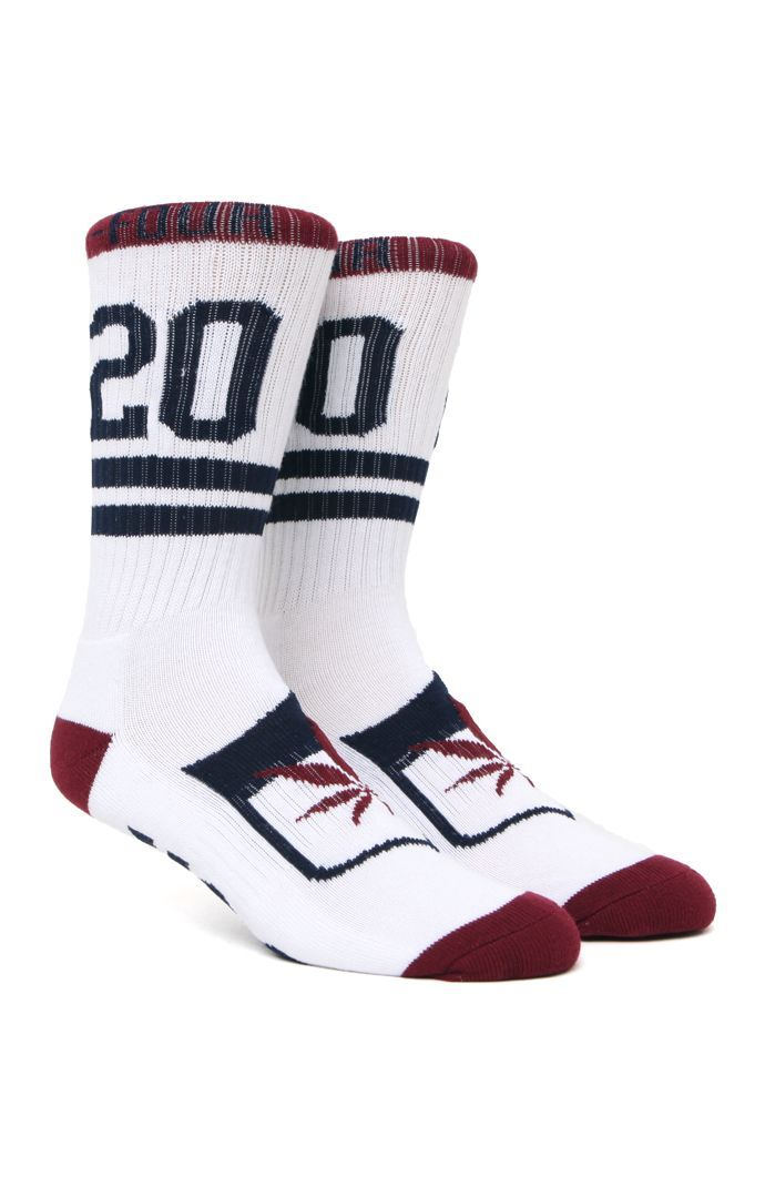 PacSun presents the DGK Always 420 Crew Socks for men. These men's crew socks have a white body, two tone DGK knit throughout, and contrast toe and heel.	Allover multi color print crew socks	DGK logo on bottom	Soft and stretchy material	Machine washable	87% cotton, 10% polyester, 3% spandex	Imported