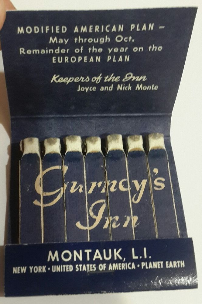 Gurneys Inn Feature Matchbook Lion Printed Stick Montauk LI NY Beach Hotel 1980s #Rearstrikefeaturematchbook