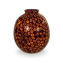 Sunset Sky Vintage - Murano glass vase with a mosaic of Murrine