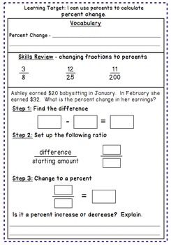 Percent Change And Error  Notes Task Cards And A Problem