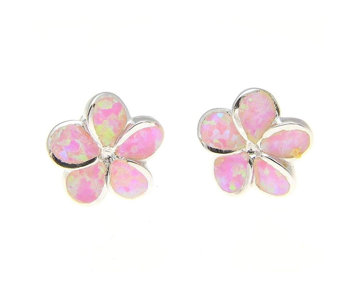 9d23b3457 925 sterling silver Hawaiian plumeria flower pink synthetic opal post stud  earrings 10mm ** Sincerely hope you actually love our photo.