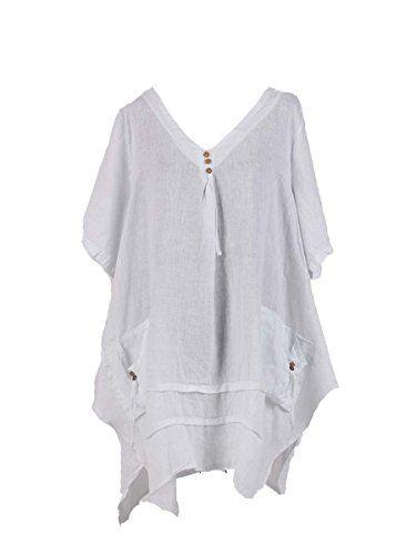 14c0a7e1f7d New Ladies Italian Quirky Lagenlook Tunic Top women Linen Tunic Blouse Plus  Sizes (White). UK tops. Women tops. It's an Amazon affiliate link.