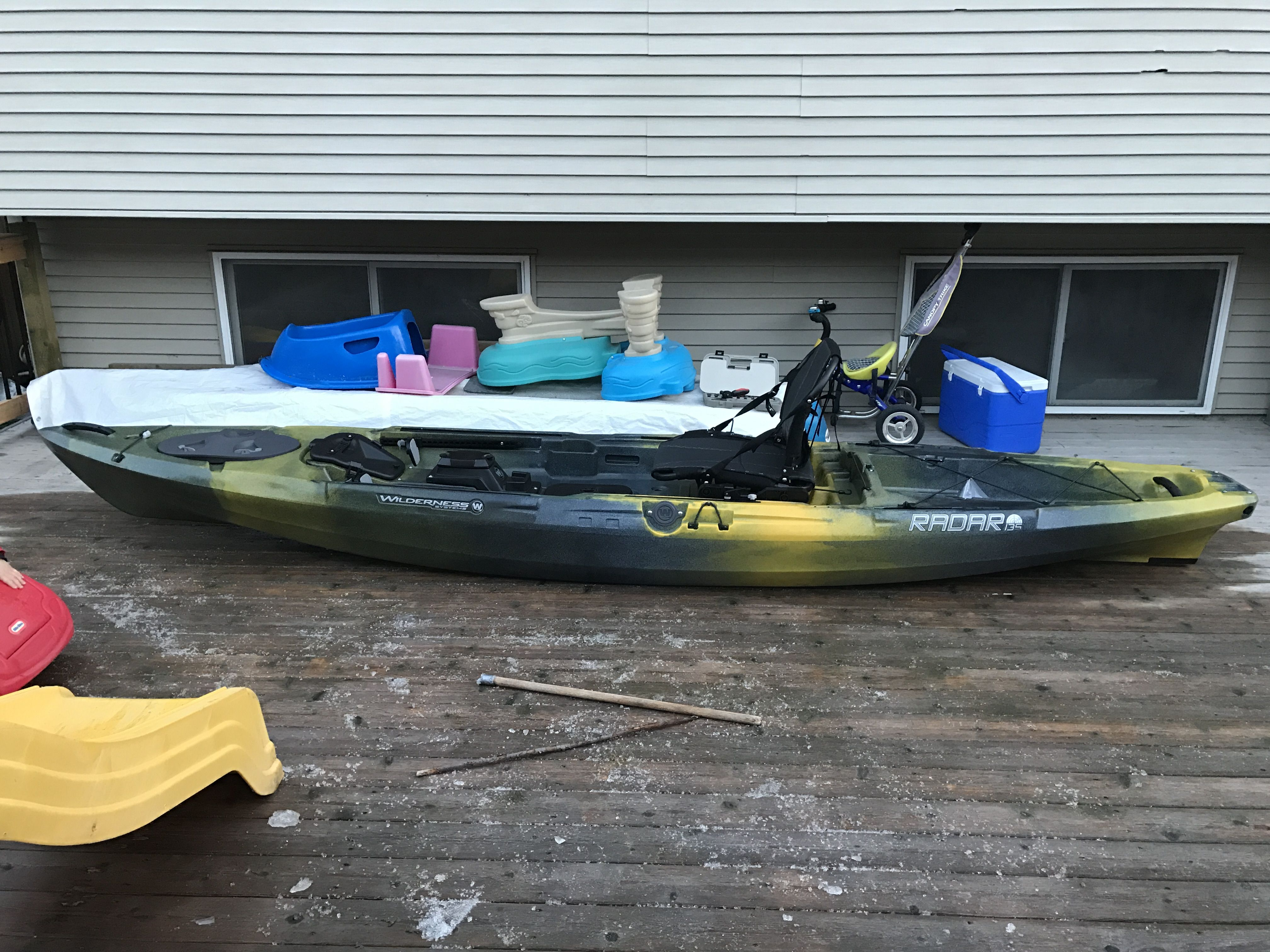 Picked up my new wilderness systems radar 135 in solar on for Pedal drive fishing kayak