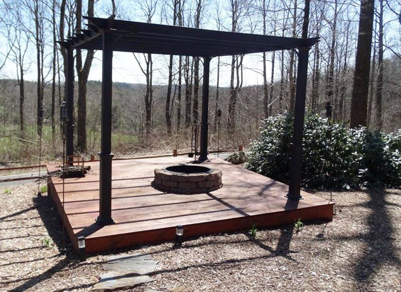 Pergola with Fire Pit (Backyard Designs)   Deck with ... on Pergola Fire Pit Ideas id=22806