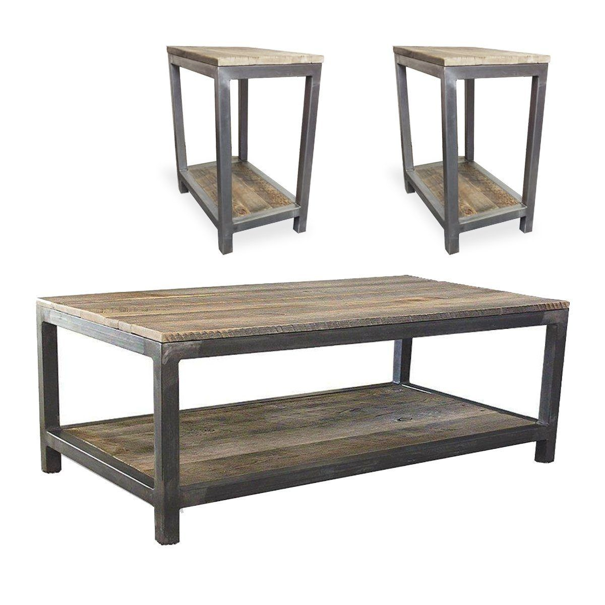 Reclaimed Wood And Metal Coffee And End Tables Set Two Tier