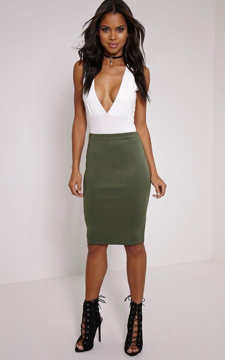 PrettyLittleThing #Present Winnie Khaki Scuba Midi Skirt-4, Green ...