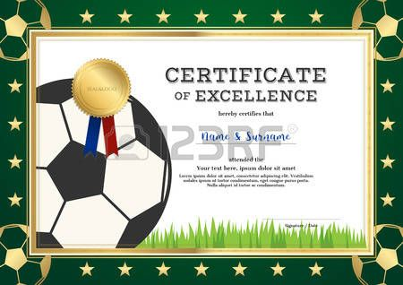Certificate of excellence template in sport theme for football - football certificate template
