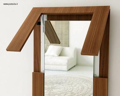 Mesa de madera plegable es espejo de pared | Pinterest | Italiano ...