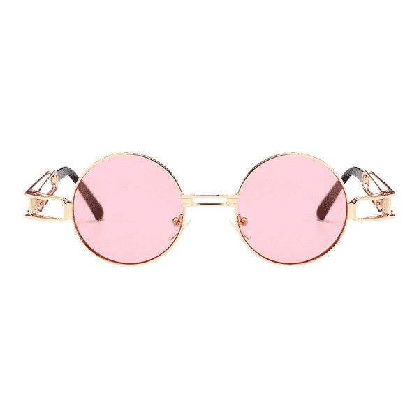 0e30246a08 Hollow Out Metal Full Frame Decoration Round Sunglasses Light Pink ( 30) ❤  liked on