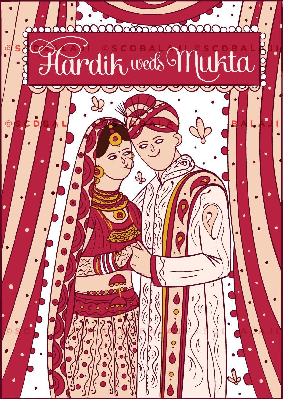 Hindu Punjabi Wedding Invite Illustration and Design. Print Ready ...