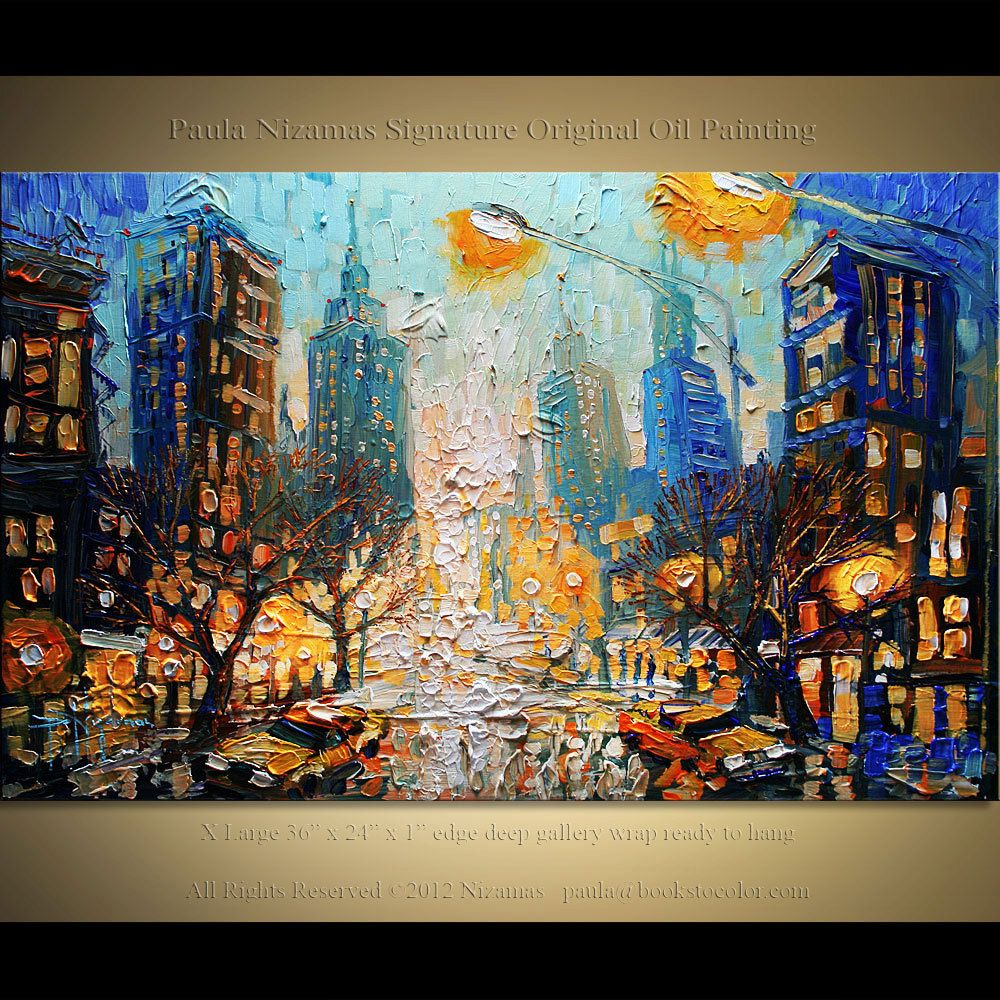 City Lights Oil Painting