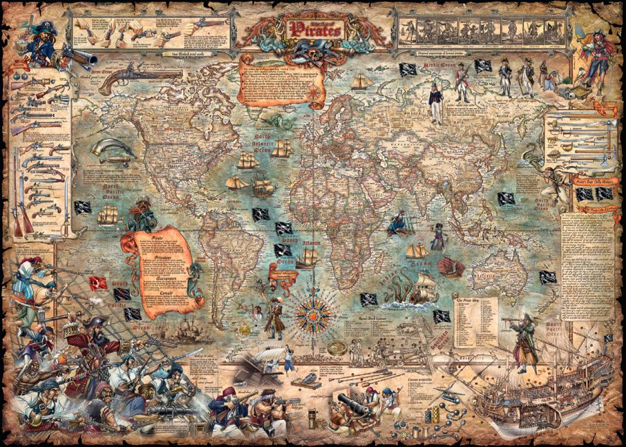 An antique looking pirate treasure map 3000 piece jigsaw puzzle age of pirates world map old style age of pirates modern map old style gumiabroncs Image collections