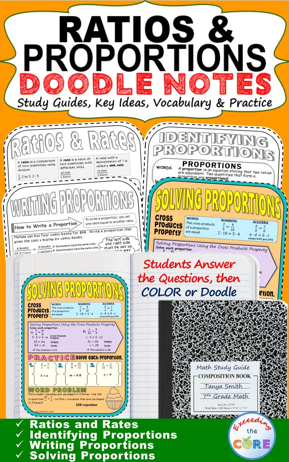 Workbooks rates and proportions worksheets : RATIOS and PROPORTIONS Doodle Notes (Study Guides) | Common cores ...