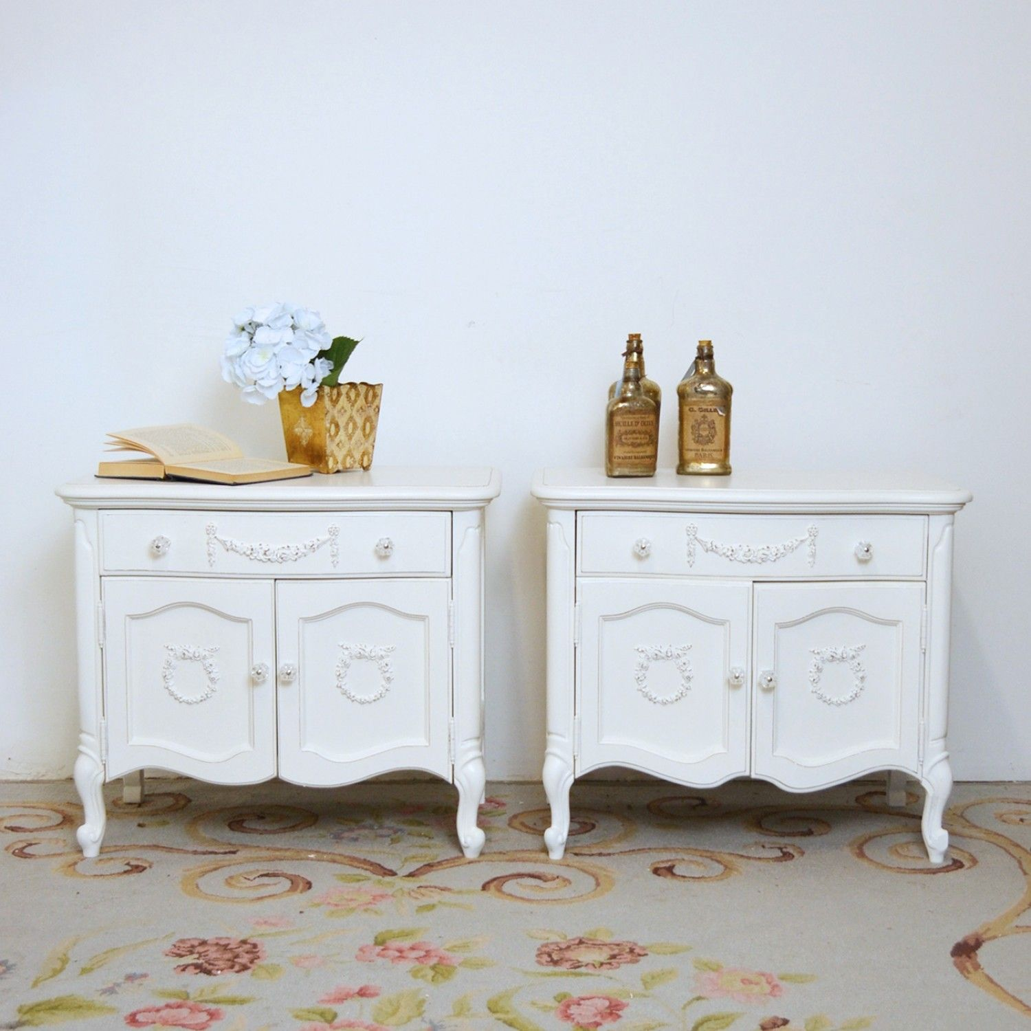 Pair of White Two-Door Nightstands $595.00 #thebellacottage #shabbychic