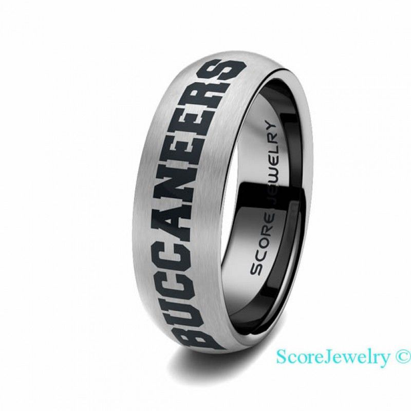 a19fed64 Tungsten Band Ring Mens Womens Ring NFL Football Tampa Bay ...