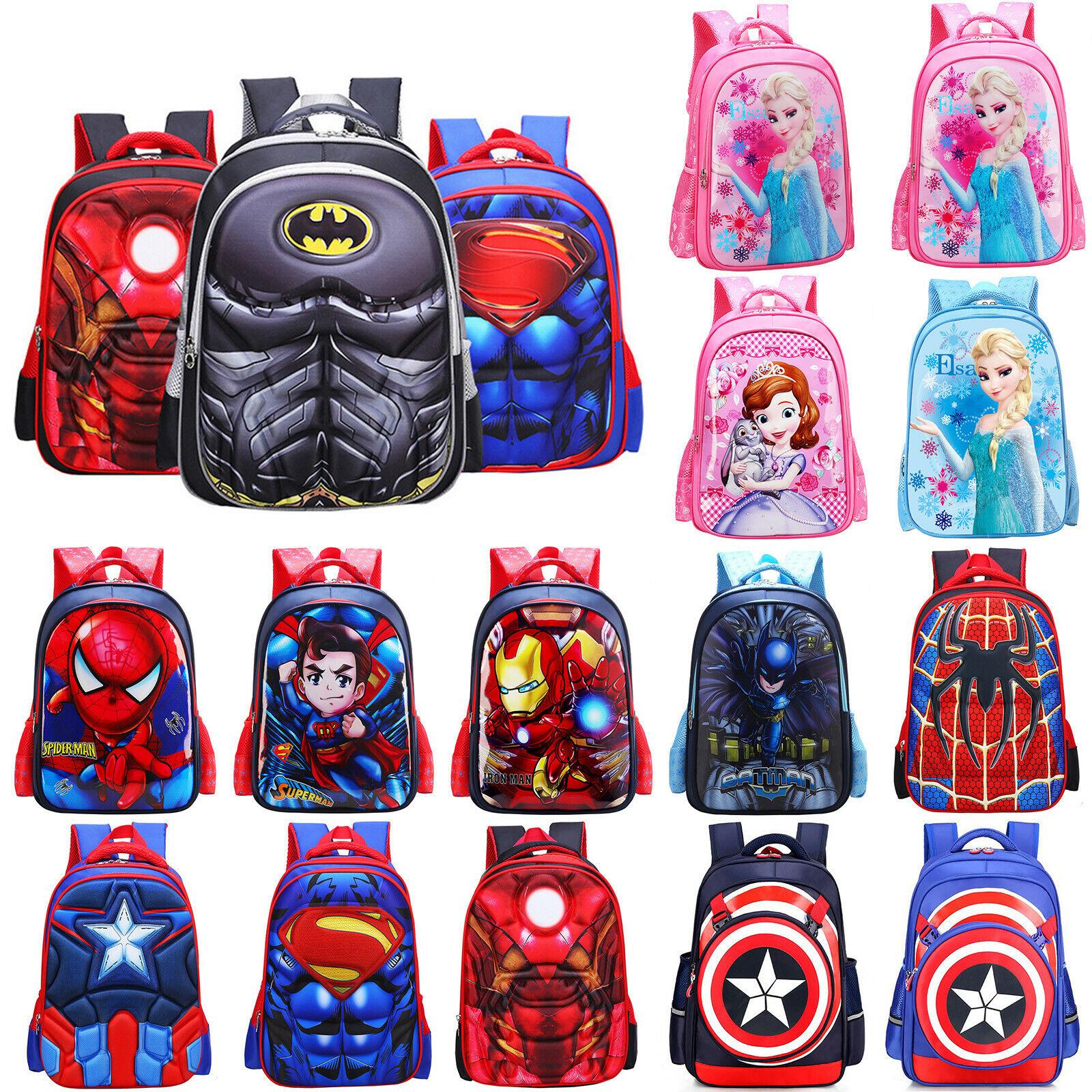 3D Kids School Book Bag Spiderman Backpack Captain America Batman For Boys Child