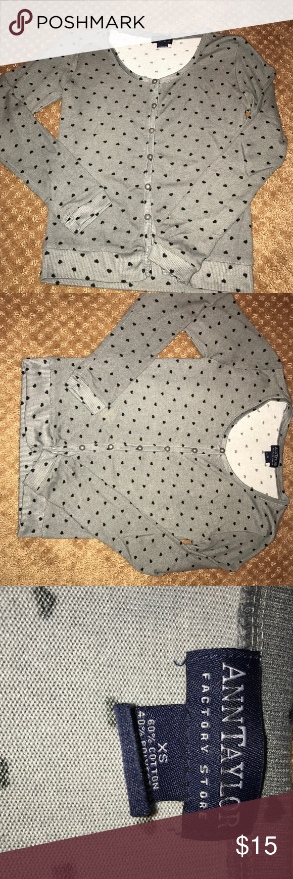 Ann Taylor factory cardigan Super cute and in great condition! It's grey with a tiny black heart pattern. Ann Taylor Factory Sweaters Cardigans