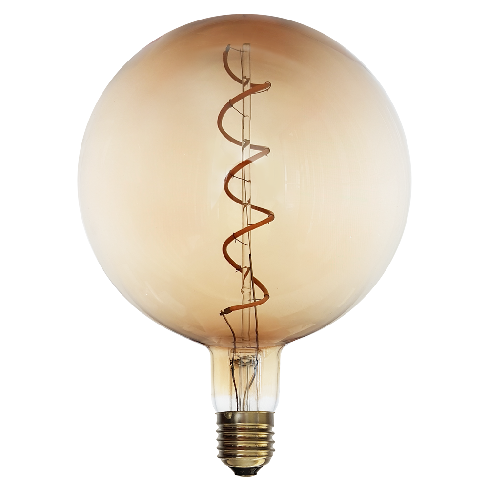 Vintage Edison Spiral LED Filament Bulb Amber Coated Is The Perfect Large For Your Retro Themed Lighting Design
