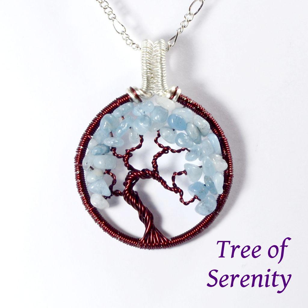 Aquamarine tree of serenity pendant aquamarines serenity and aquamarine tree of serenity pendant tree of life necklaces uk handmade gemstone gifts aloadofball Choice Image