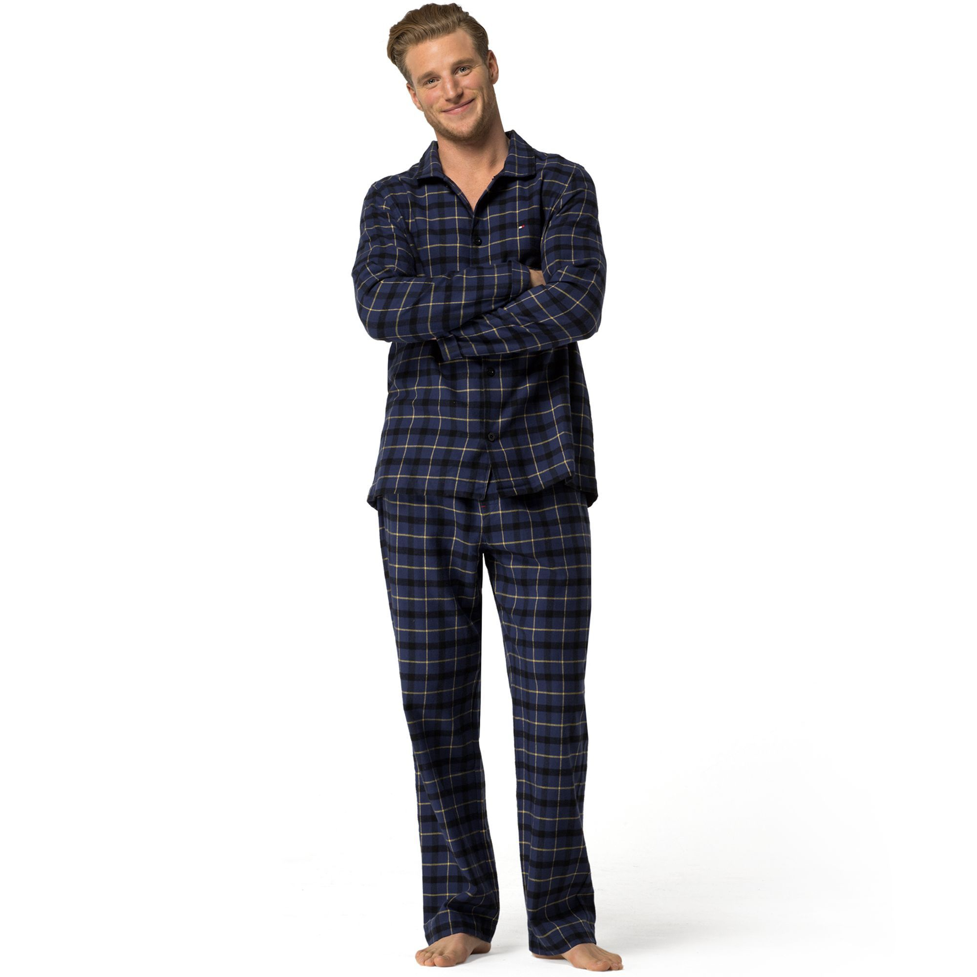 TOMMY HILFIGER PLAID FLANNEL PAJAMA SET BLUEPRINT
