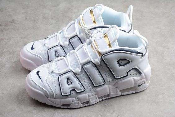 best sneakers 32645 4b44e 2018 New Nike Air More Uptempo White Blue Gold Shoes-2