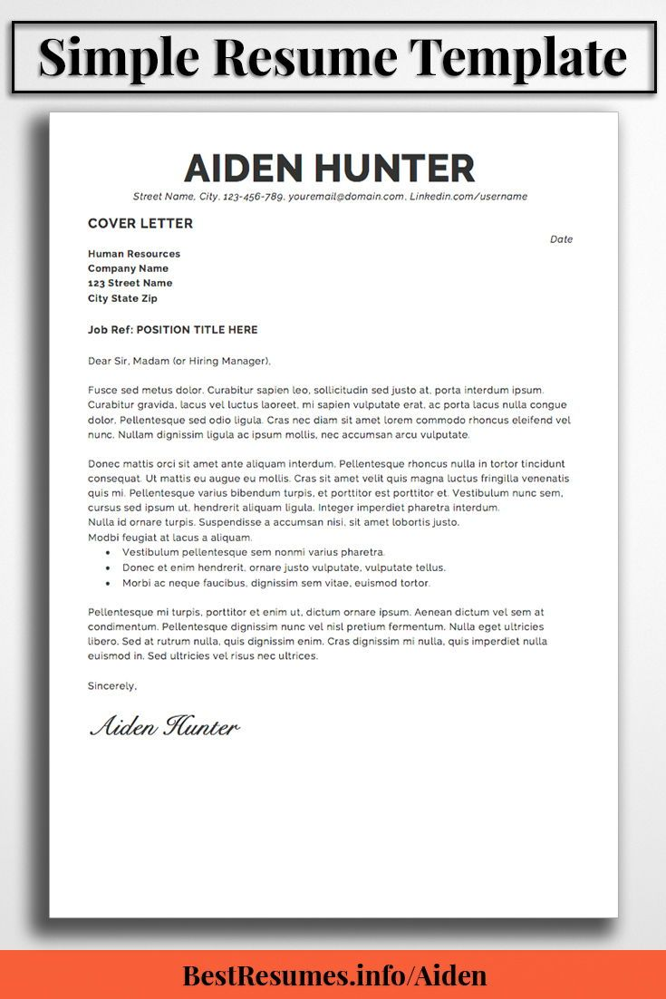 Resume Template Aiden Hunter  Simple Resume Template Simple Resume