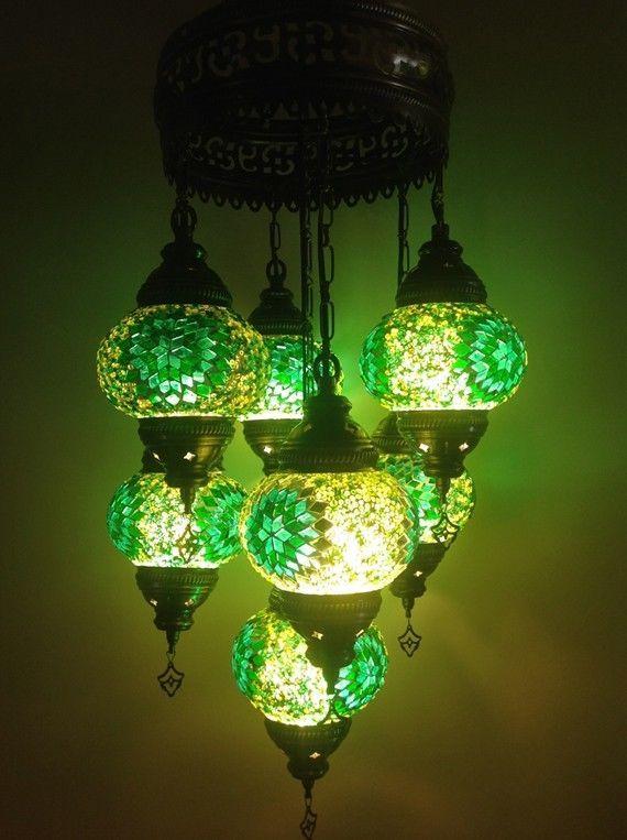 Turkish Handmade 7 Balls Glass Mosaic Chandelier Mosaic