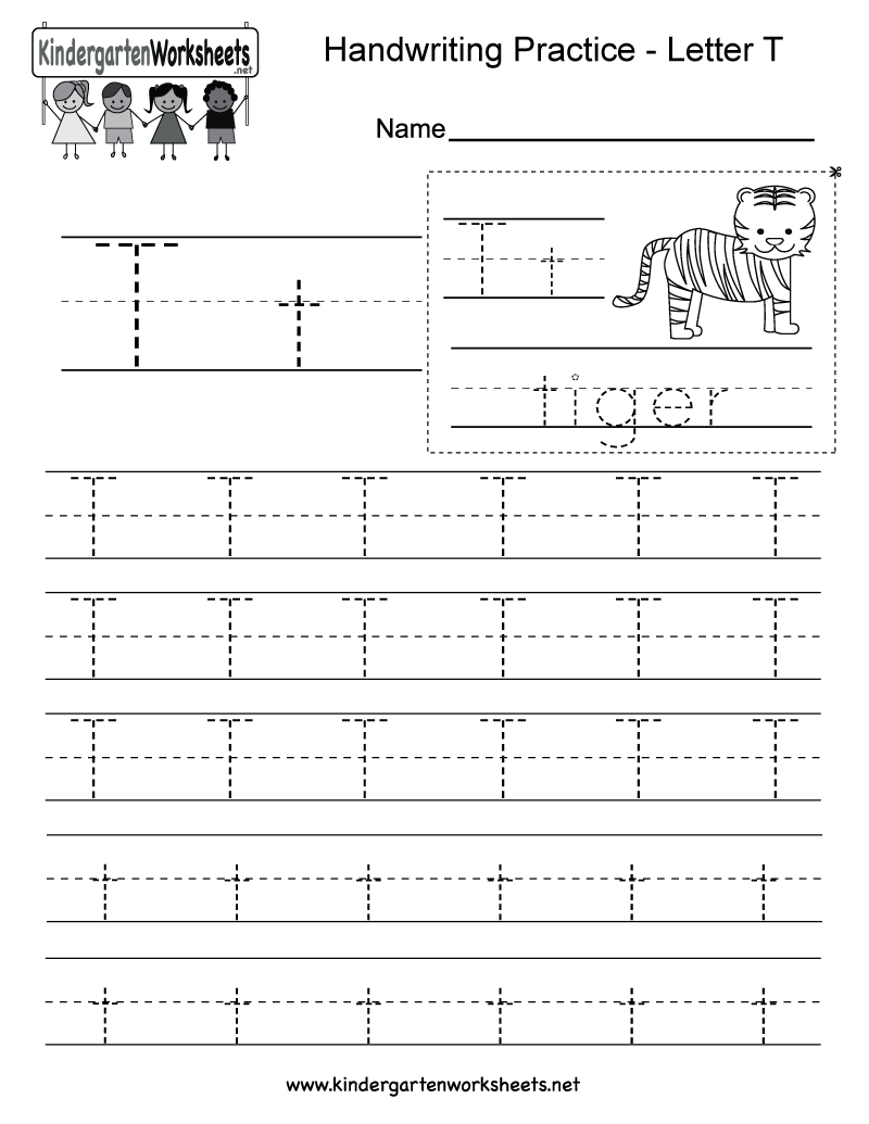 Letter T Handwriting Practice Worksheet This Would Be Great For Kids In Kindergarten You Can Download Print Or Use It Online