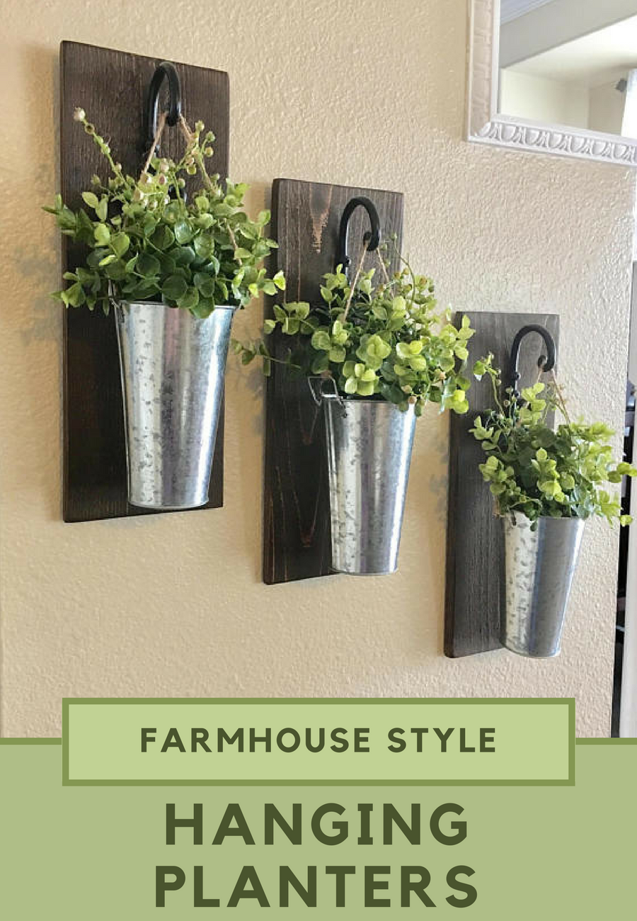 Vase Planters Galvanized Metal Wall Farmhouse Style Hanging Home Wall Decor