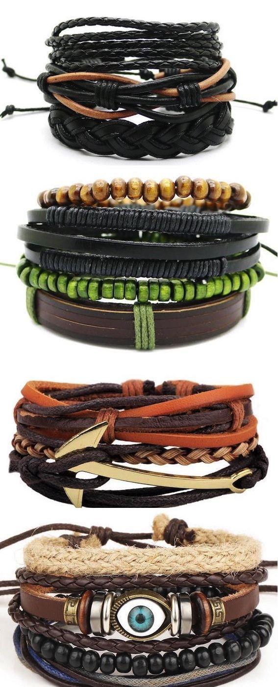 Men/'s Leather Bracelet Bangle Fashion Jewelry Minimalist Multi-layer Bracelet...