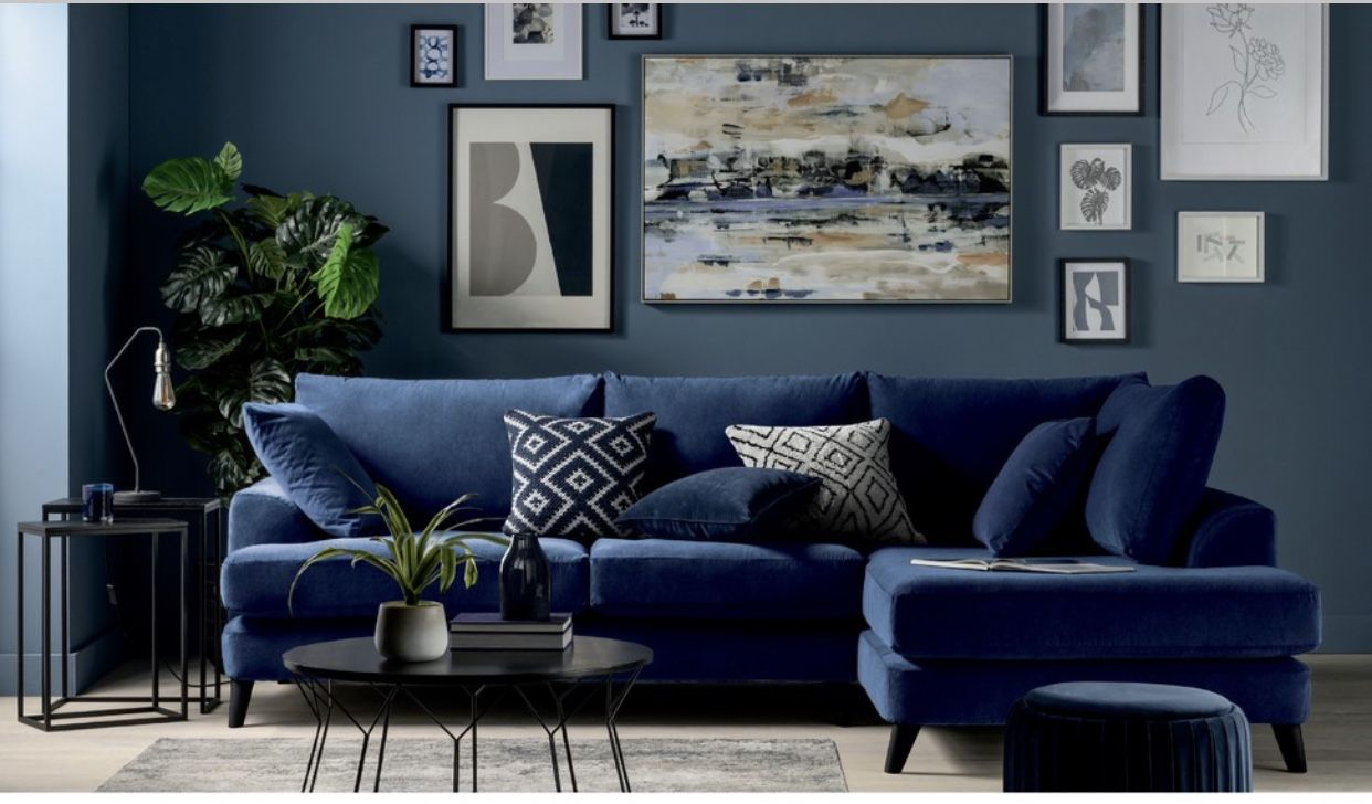 Pin By Emma Newton On Lounge Blue Couch Living Room Blue Walls Living Room Blue Corner Sofas