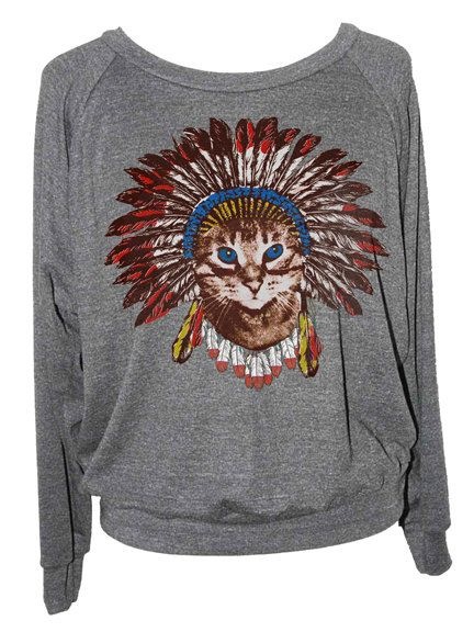 Womens CAT INDIAN SWEATSHIRT Headdress american by skipnwhistle ... 9a9f348d55