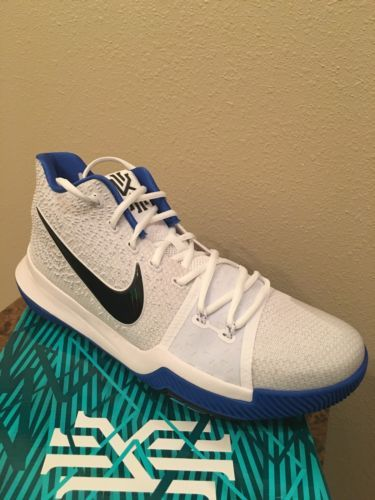 a37dea579a6f Nike KYRIE 3 Brotherhood Duke Hyper Cobalt WHITE BLACK 852395 102 Irving  Size 13