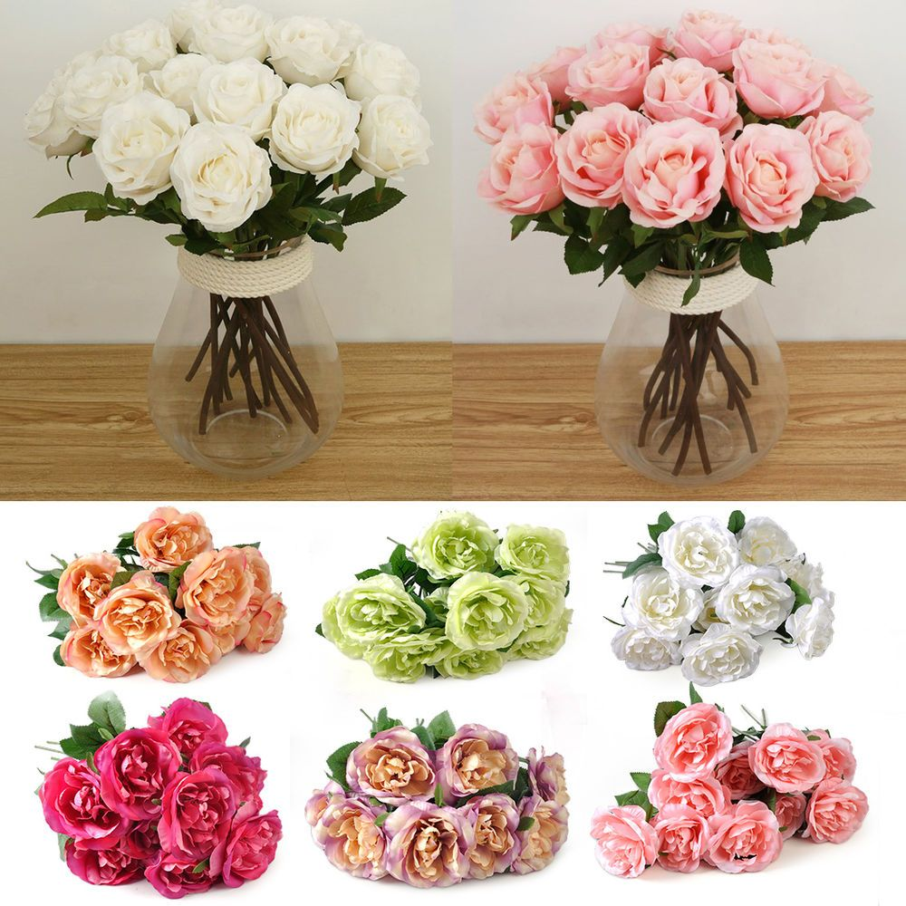 10x Fake Silk Rose Real Touch Flower For Wedding Home Party Decor